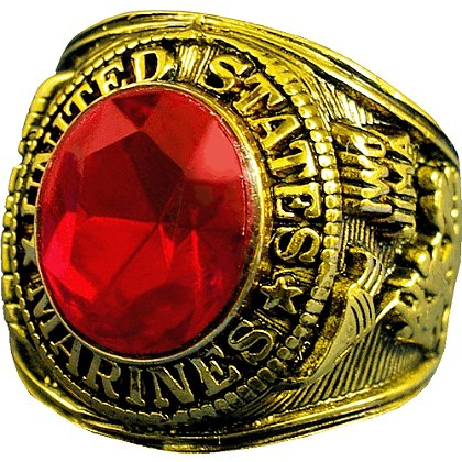 Son Sales Marine Corps Ring, 18K Gold Electroplate with Ruby Austrian Crystal Stone, Style # 20