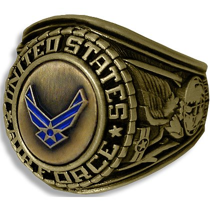 Son Sales Air Force Ring, 18K Gold Electroplate, Cast Bronze Top with Detailed Insignia, Style # 21