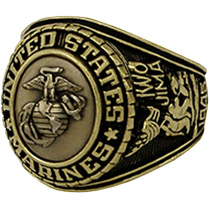 Son Sales: Marine Corps Ring, 18K Gold Electroplate, Cast Bronze Top with Detailed Insignia, Style # 21
