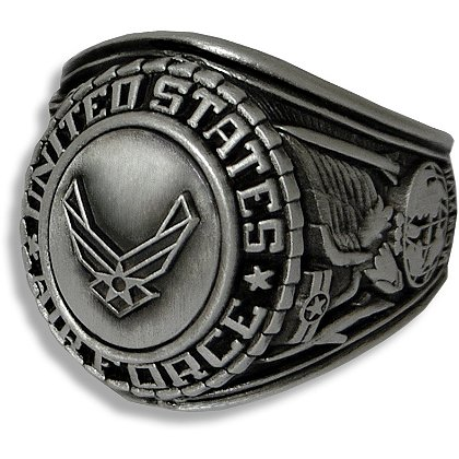 Son Sales Air Force Ring, Silver Antique Finish, Cast Bronze Top with Detailed Insignia, Style # 22