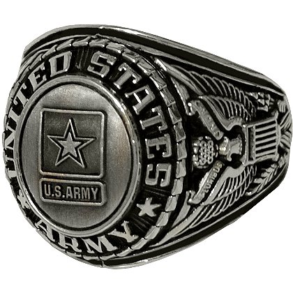 Son Sales Army Ring, Silver Antique Finish, Cast Bronze Top with Detailed Insignia, Style # 22