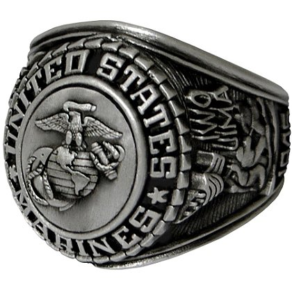 Son Sales Marine Corps Ring, Silver Antique Finish, Cast Bronze Top with Detailed Insignia, Style # 22