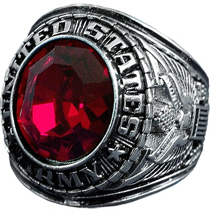 Son Sales Army Ring, Rhodium Finish with Ruby Austrian Crystal Stone, Style # 23