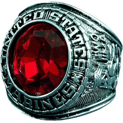 Son Sales: Marine Corps Ring, Rhodium Finish with Ruby Austrian Crystal Stone, Style # 23