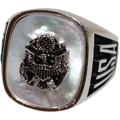 Son Sales Army Ring, Pure Rhodium Electroplate, Metallic Logo Set onto Genuine Mother of Pearl Stone, Style # 30