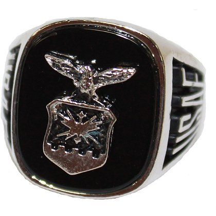 Son Sales Air Force Ring Pure Rhodium Electroplate, Metallic Logo Set onto Genuine Black Onyx Stone, Style # 60