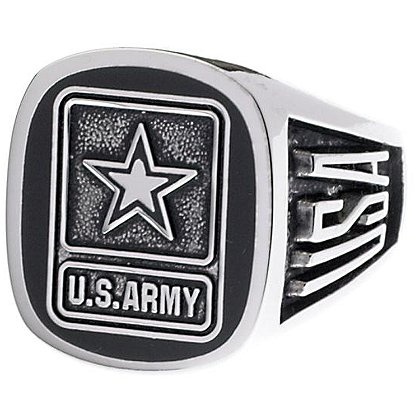 Son Sales: Army Ring, Pure Rhodium Electroplate, Metallic Logo Set onto Genuine Black Onyx Stone, Style # 60