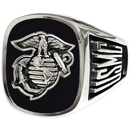 Son Sales Marine Corps Ring, Pure Rhodium Electroplate, Metallic Logo Set onto Genuine Black Onyx Stone, Style # 60