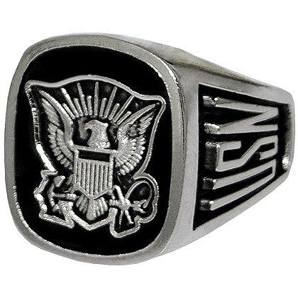 Son Sales Navy Ring, Pure Rhodium Electroplate, Metallic Logo Set onto Genuine Black Onyx Stone, Style # 60