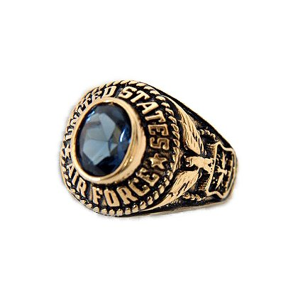 Son Sales Air Force Ladies Ring 18K Gold Electroplate with Sapphire Austrian Crystal Stone, Style # 70