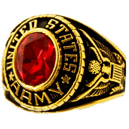 Son Sales: Army Ladies Ring, 18K Gold Electroplate with Ruby Austrian Crystal Stone, Style # 70