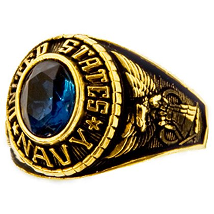 Son Sales Navy Ladies Ring, 18K Gold Electroplate with Sapphire Austrian Crystal Stone, Style # 70