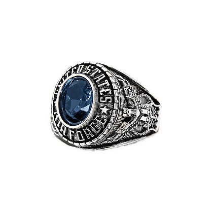 Son Sales: Air Force Ladies Ring Rhodium Finish with Sapphire Austrian Crystal Stone, Style # 72AF