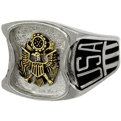Son Sales Army Ring, Pure Rhodium Electroplate, Metallic Logo Set on Top, Service Initials on Sides, Style # 80
