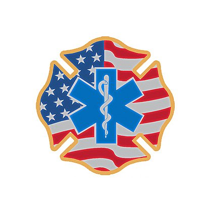 Decal: theEMSstore Exclusive Reflective Helmet American Flag Star of Life Maltese Cross 2""