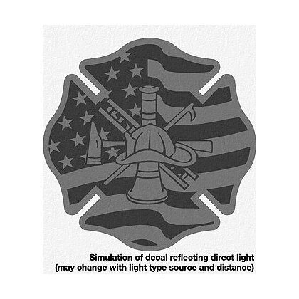 TheFireStore: Flag Maltese Cross with Firefighter Scramble, Black Reflective, 2