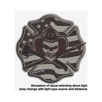 TheFireStore: Flag Maltese Cross with Skull, Black Reflective, 2