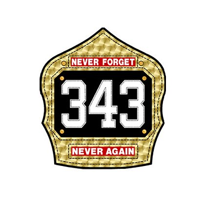 TheFireStore Commemorative Gold Leaf Shield, Never Forget, 343, Never Again