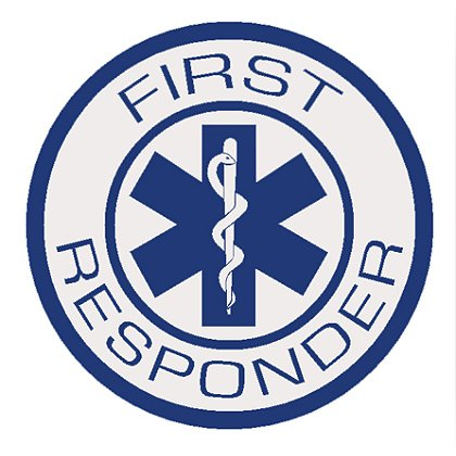 Decal First Responder with Star Of Life Reflective Decal Round