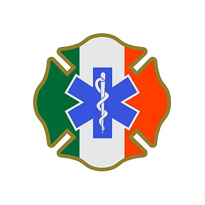 Decal: Irish Green, White and Orange Maltese Cross with Blue Star of Life