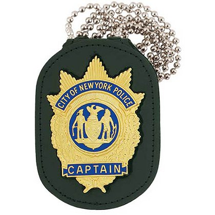 Strong Single Thick, Recessed Badge Holder with Chain for Neck