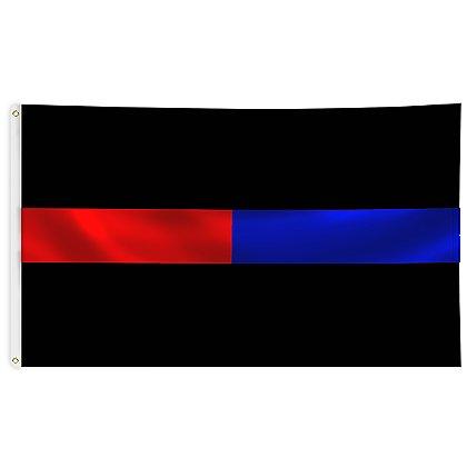 Thin Red & Blue Line Black Flag, 3' x 5'