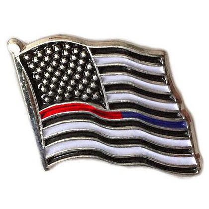 Thin Blue Line USA Dual American Flag Pin