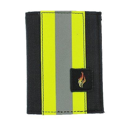 TheFireStore Exclusive Bunker Gear Trifold Dress Wallet with Single ID Window, PBI Black Matrix, 2
