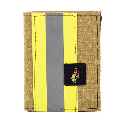 TheFireStore Exclusive Bunker Gear Bi-Fold Dress Wallet with 6 Credit Card Slots, Flip ID Window, Gold PBI and Triple Trim