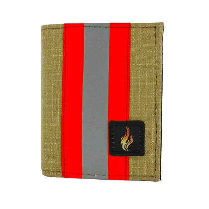 TheFireStore Exclusive: Bunker Gear Dress Wallet with 6 Credit Card Slots, Flip Out Hidden ID Window, Gold PBI and Orange Triple Trim