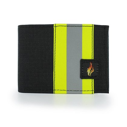 TheFireStore Exclusive: Bunker Gear Bi-Fold Dress Wallet with 9 Credit Card Slots, Middle ID Window, Black PBI and Triple Trim