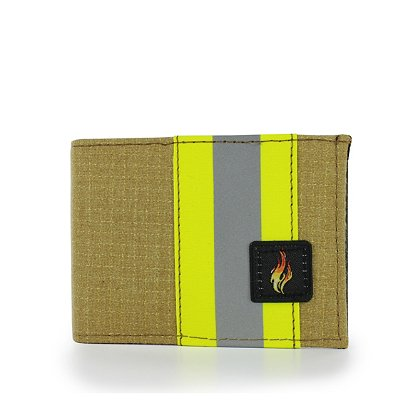 TheFireStore Exclusive Bunker Gear Bi-Fold Wallet with 9 Credit Card Slots, Middle ID Window, Gold PBI and Triple Trim