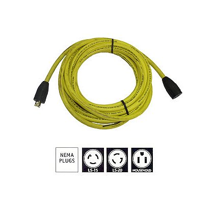 Tele-Lite Extension Cords, 10/3 SJOW, Yellow