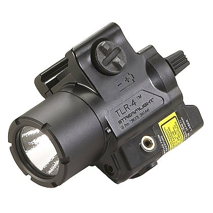 "Streamlight: TLR-4 Compact Rail Mounted C4 LED Weapon Light with Red Aiming Laser, 1 CR2 Battery, 110 Lumens, 2.73"" Long"