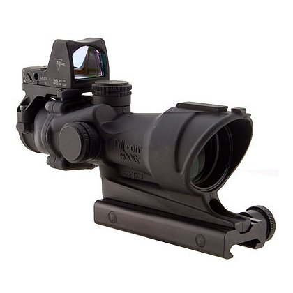 Trijicon: ACOG 4x32 Scope, Center Illuminated Amber Crosshair .223 Ballistic Reticle, 3.25 MOA RMR Sight, and TA51 Mount