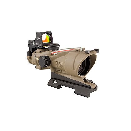 Trijicon: ACOG 4x32 Flat Dark Earth Scope, Dual Illumination Red Crosshair Reticle w/ 3.25 MOA RMR Sight
