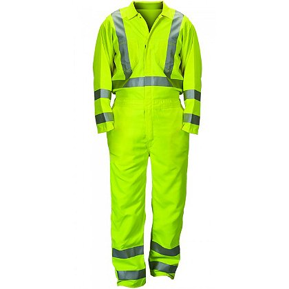Lakeland Coverall, Hi Viz, Zipper Front Lime/Yellow, 2
