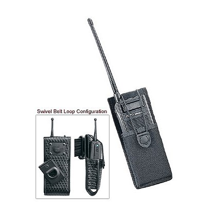Uncle Mike's Fitted Radio Case, Swivel Belt Loop, Black Cordura Nylon