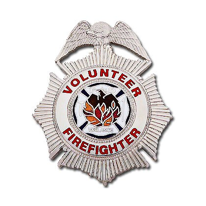 Smith & Warren Stock Badge, Volunteer Firefighter (Sunburst)