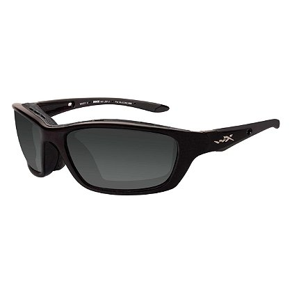 Wiley X Brick Sunglasses, Polarized Smoke Grey Lens, Gloss Black Frame