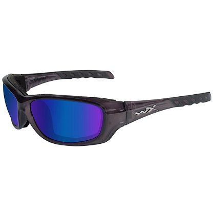 Wiley X Gravity Sunglasses, Polarized Blue Mirror Lens, Black Crystal Frame