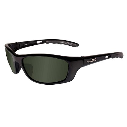Wiley X P-17 Sunglasses, Polarized Smoke Green Lens, Gloss Black Frame