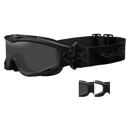 Wiley X Spear Goggles, Grey/Clear Lenses, Black Frame