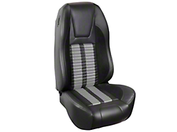 TMI Premium Sport R500 Upholstery & Foam Kit - Black Vinyl & Gray Stripe/Stitch (87-93 All)