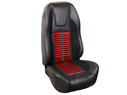 TMI Premium Sport R500 Upholstery & Foam Kit - Black Vinyl & Red Stripe/Stitch (87-93 All)
