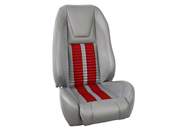 TMI Premium Sport R500 Upholstery & Foam Kit - Gray Vinyl & Red Stripe/Stitch (87-93 All)