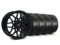 Staggered 2013 GT500 Style Gloss Black Wheel & Mickey Thompson Tire Kit - 19x8.5/10 (05-14 GT, V6)