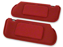 TMI Cloth Sun Visors w/ Mirrors- Coupe/Hatchback - Scarlet Red (85-93 All)