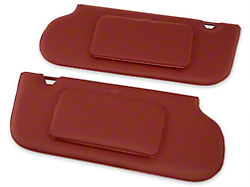 TMI Vinyl Sun Visors w/ Mirrors- T-Top/Sunroof - Scarlet Red (85-93 All)