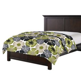 Modern Gray & Green Floral Duvet Cover